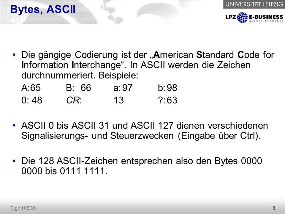 """8 DigInf 05/06 Bytes, ASCII Die gängige Codierung ist der """"American Standard Code for Information Interchange"""". In ASCII werden die Zeichen durchnumme"""