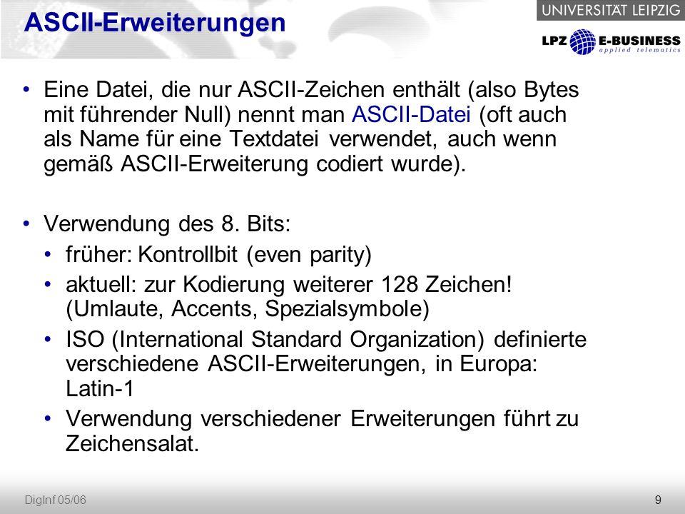 9 DigInf 05/06 ASCII-Erweiterungen Eine Datei, die nur ASCII-Zeichen enthält (also Bytes mit führender Null) nennt man ASCII-Datei (oft auch als Name