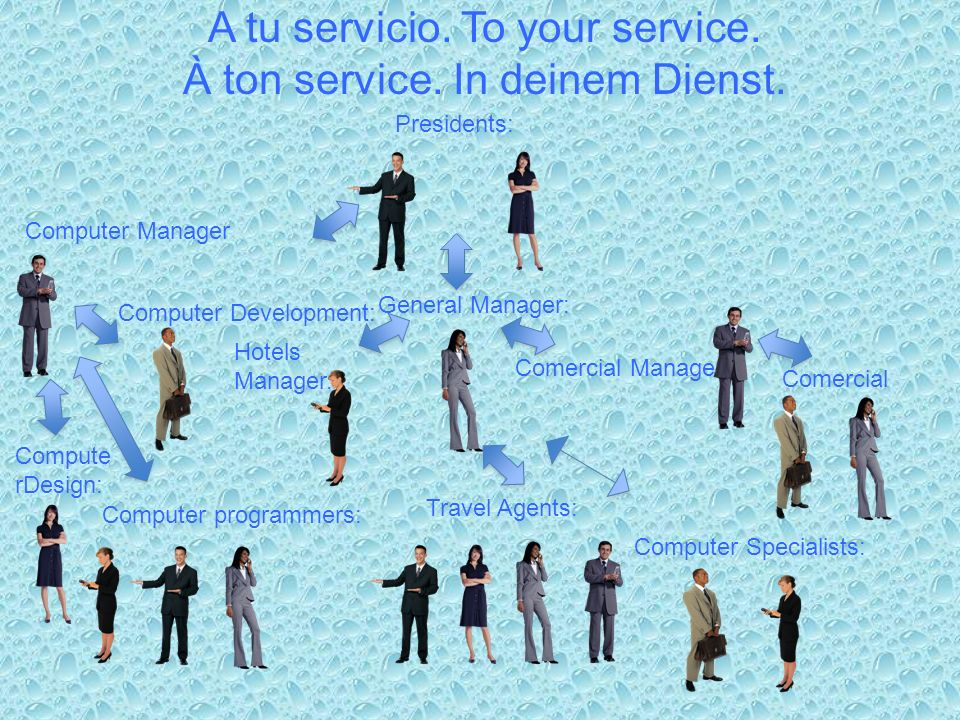 A tu servicio. To your service. À ton service. In deinem Dienst. Presidents: General Manager: Comercial Manager: Comercial s Hotels Manager. Travel Ag