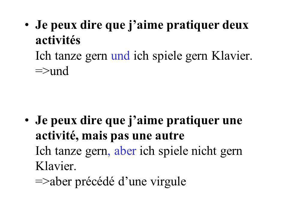 Je peux dire quelle activité je naime pas pratiquer Ich sehe nicht gern fern. => V2 + nicht +gern