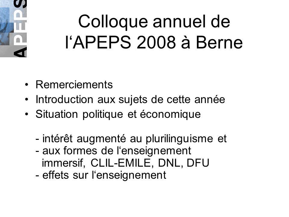 Colloque annuel de lAPEPS 2008 à Berne Remerciements Introduction aux sujets de cette année Situation politique et économique - intérêt augmenté au pl
