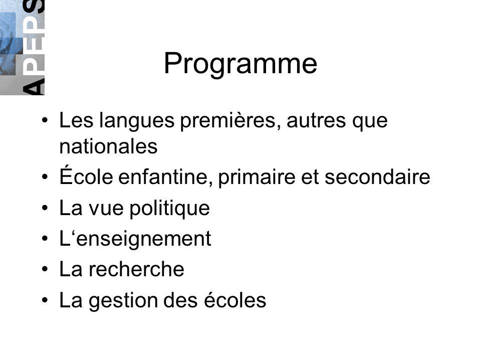 Programme Les langues premières, autres que nationales École enfantine, primaire et secondaire La vue politique Lenseignement La recherche La gestion