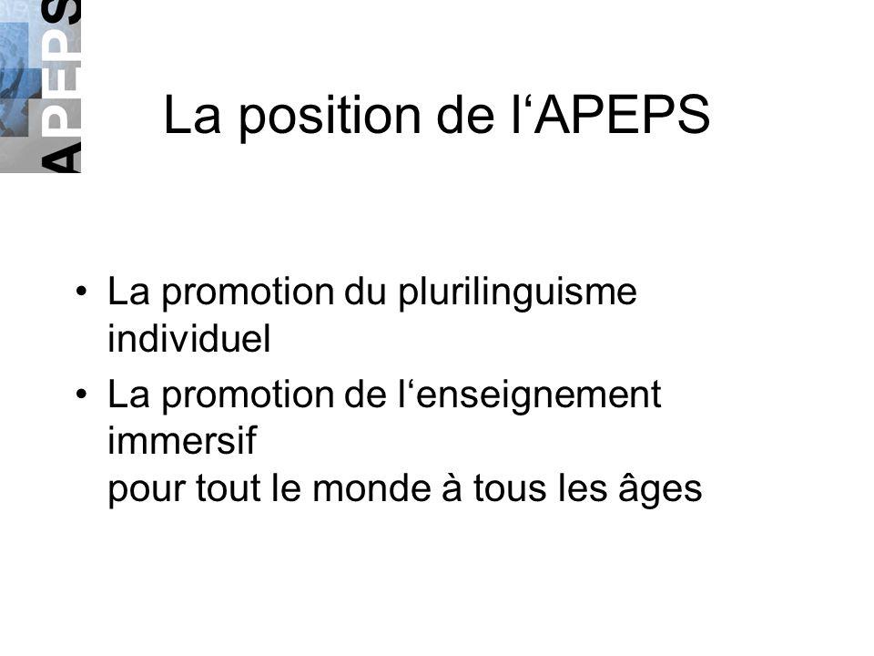 La position de lAPEPS La promotion du plurilinguisme individuel La promotion de lenseignement immersif pour tout le monde à tous les âges
