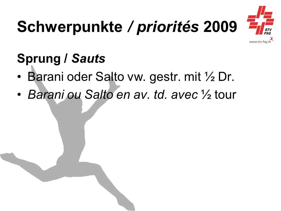 Schwerpunkte / priorités 2009 Sprung / Sauts Barani oder Salto vw. gestr. mit ½ Dr. Barani ou Salto en av. td. avec ½ tour