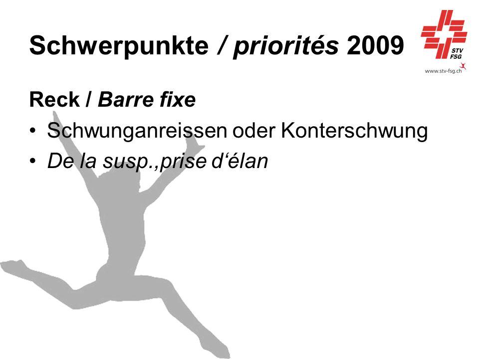 Schwerpunkte / priorités 2009 Reck / Barre fixe Schwunganreissen oder Konterschwung De la susp.,prise délan