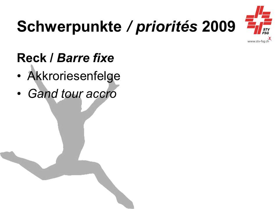 Schwerpunkte / priorités 2009 Reck / Barre fixe Akkroriesenfelge Gand tour accro
