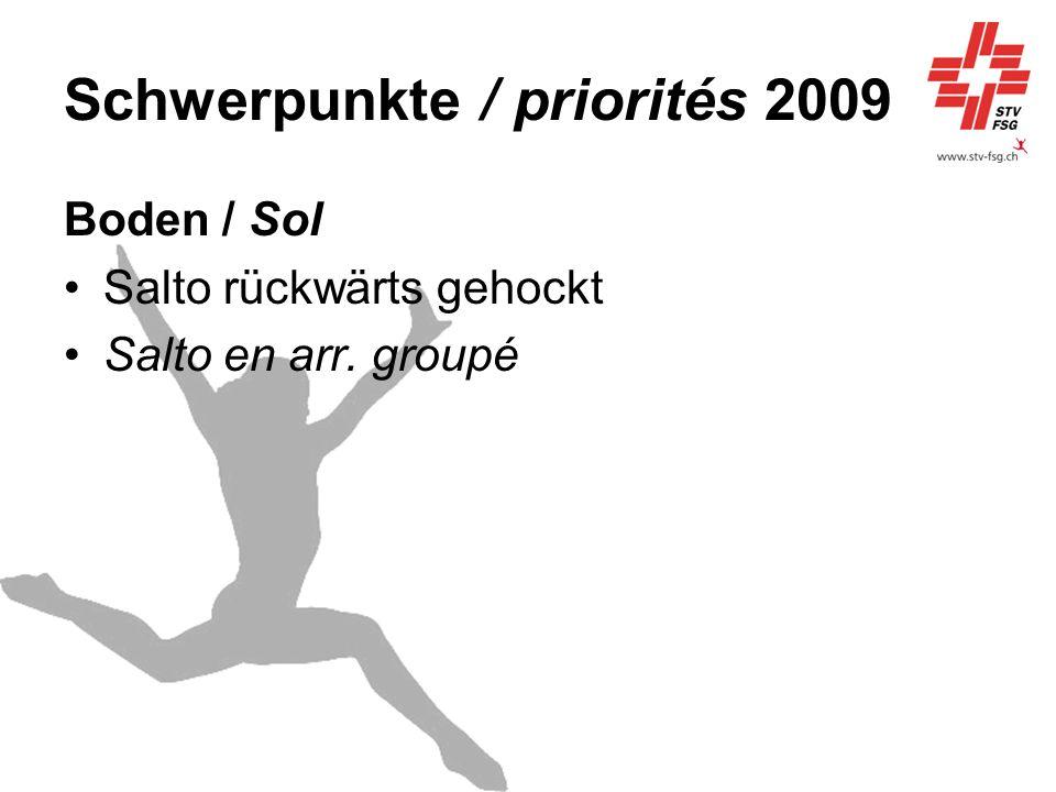 Schwerpunkte / priorités 2009 Boden / Sol Salto rückwärts gehockt Salto en arr. groupé