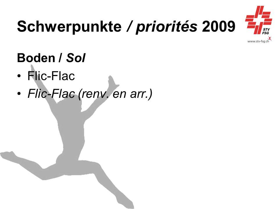 Schwerpunkte / priorités 2009 Boden / Sol Flic-Flac Flic-Flac (renv. en arr.)