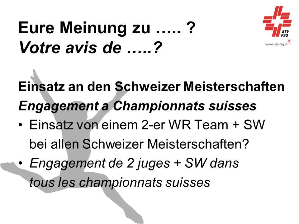 Eure Meinung zu ….. ? Votre avis de …..? Einsatz an den Schweizer Meisterschaften Engagement a Championnats suisses Einsatz von einem 2-er WR Team + S