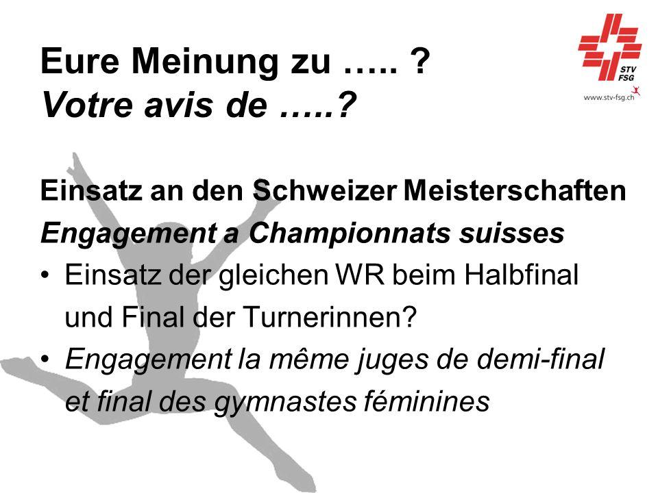 Eure Meinung zu ….. ? Votre avis de …..? Einsatz an den Schweizer Meisterschaften Engagement a Championnats suisses Einsatz der gleichen WR beim Halbf