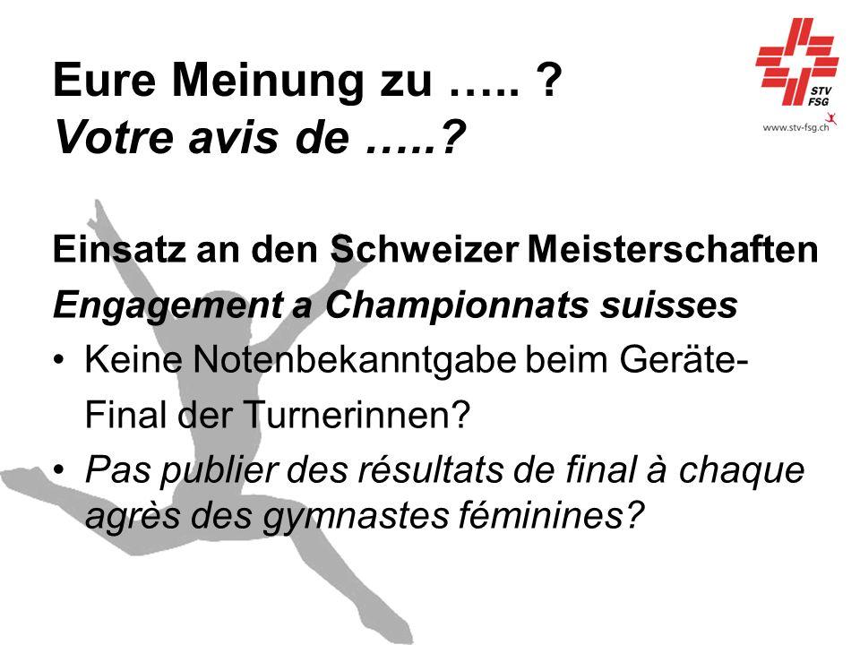 Eure Meinung zu ….. ? Votre avis de …..? Einsatz an den Schweizer Meisterschaften Engagement a Championnats suisses Keine Notenbekanntgabe beim Geräte