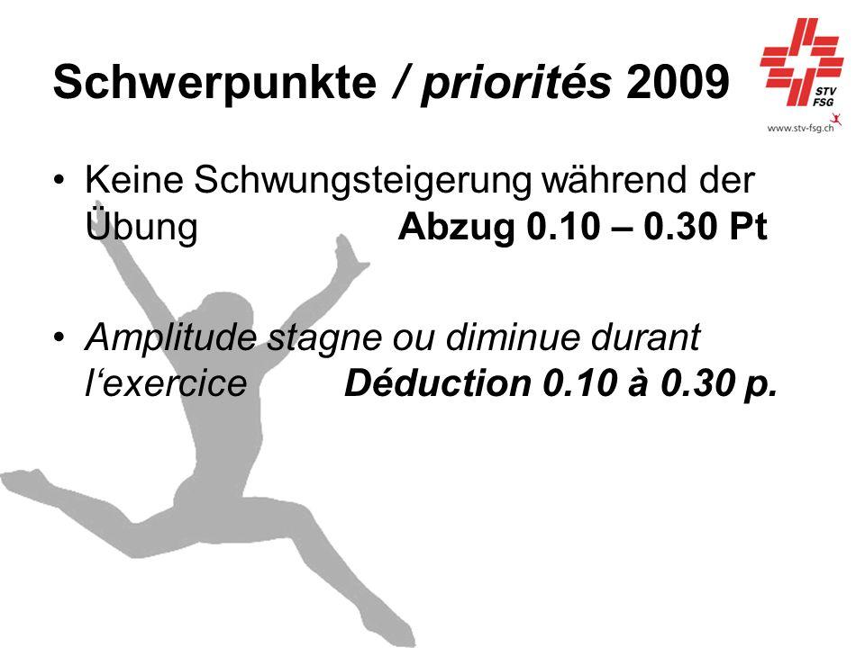 Schwerpunkte / priorités 2009 Keine Schwungsteigerung während der ÜbungAbzug 0.10 – 0.30 Pt Amplitude stagne ou diminue durant lexercice Déduction 0.1