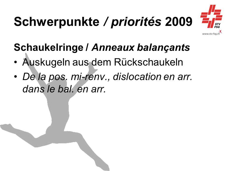Schwerpunkte / priorités 2009 Schaukelringe / Anneaux balançants Auskugeln aus dem Rückschaukeln De la pos. mi-renv., dislocation en arr. dans le bal.