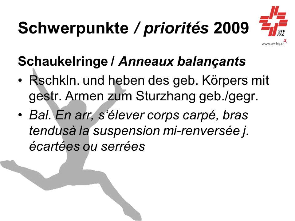 Schwerpunkte / priorités 2009 Schaukelringe / Anneaux balançants Rschkln. und heben des geb. Körpers mit gestr. Armen zum Sturzhang geb./gegr. Bal. En