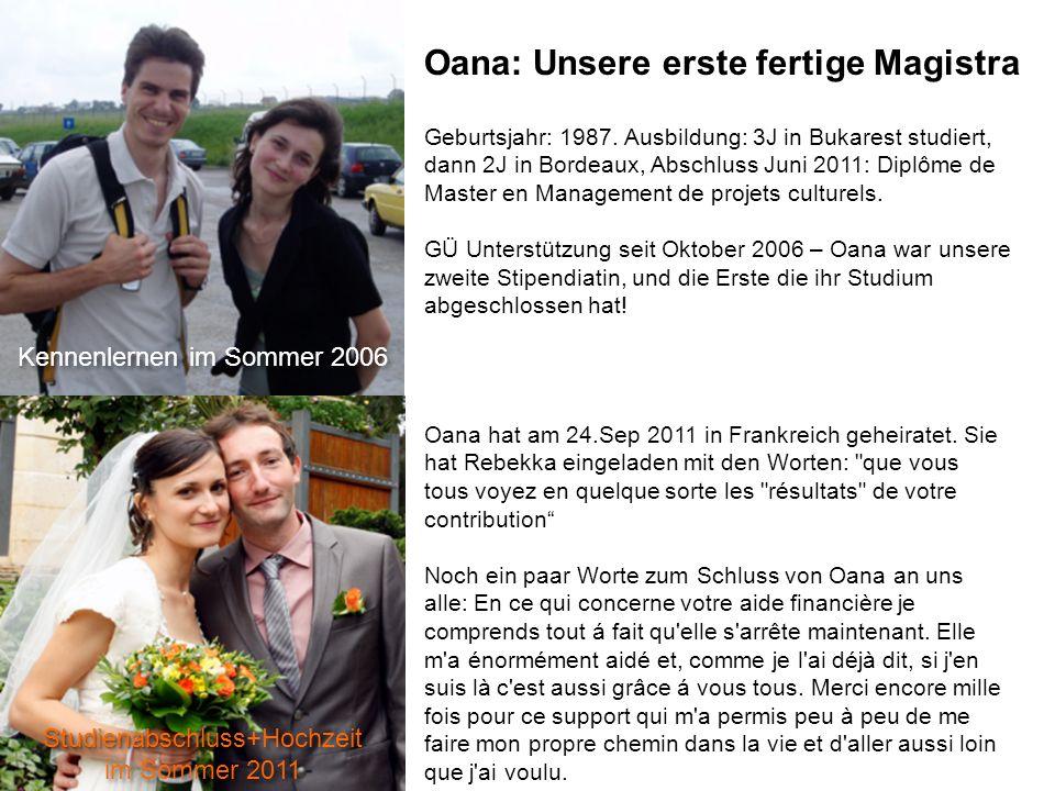 Oana: Unsere erste fertige Magistra Kennenlernen im Sommer 2006 Geburtsjahr: 1987.