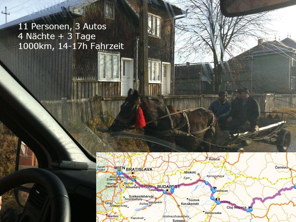 11 Personen, 3 Autos 4 Nächte + 3 Tage 1000km, 14-17h Fahrzeit 1