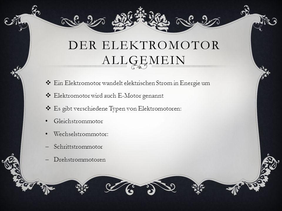 GLIEDERUNG 1.) Der Elektromotor allgemein 2.) Geschichte des Elektromotors 2.1) Der Jacobi-Motor 2.1) Funktionsweise und Aufbau 2.2) Probleme 2.3) Moritz Hermann von Jacobi Quellen