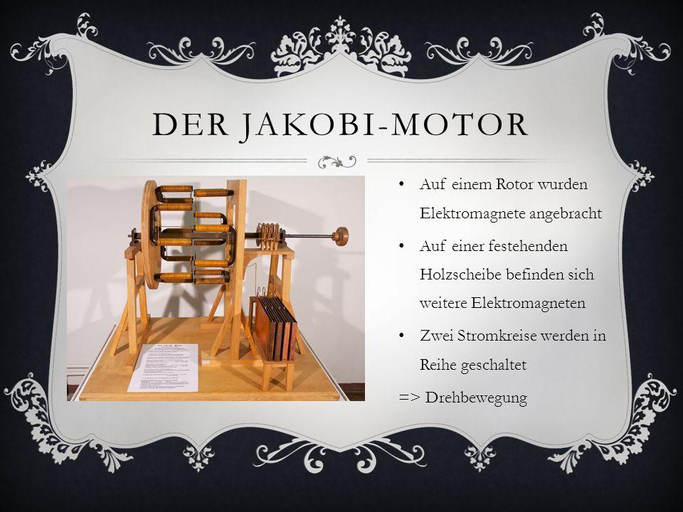 GESCHICHTE DES ELEKTROMOTORS 1820 entdeckte Christian Orsted die magnetische Wirkung von elektrischem Strom William Sturgeon, Thomas Davenport, Emily