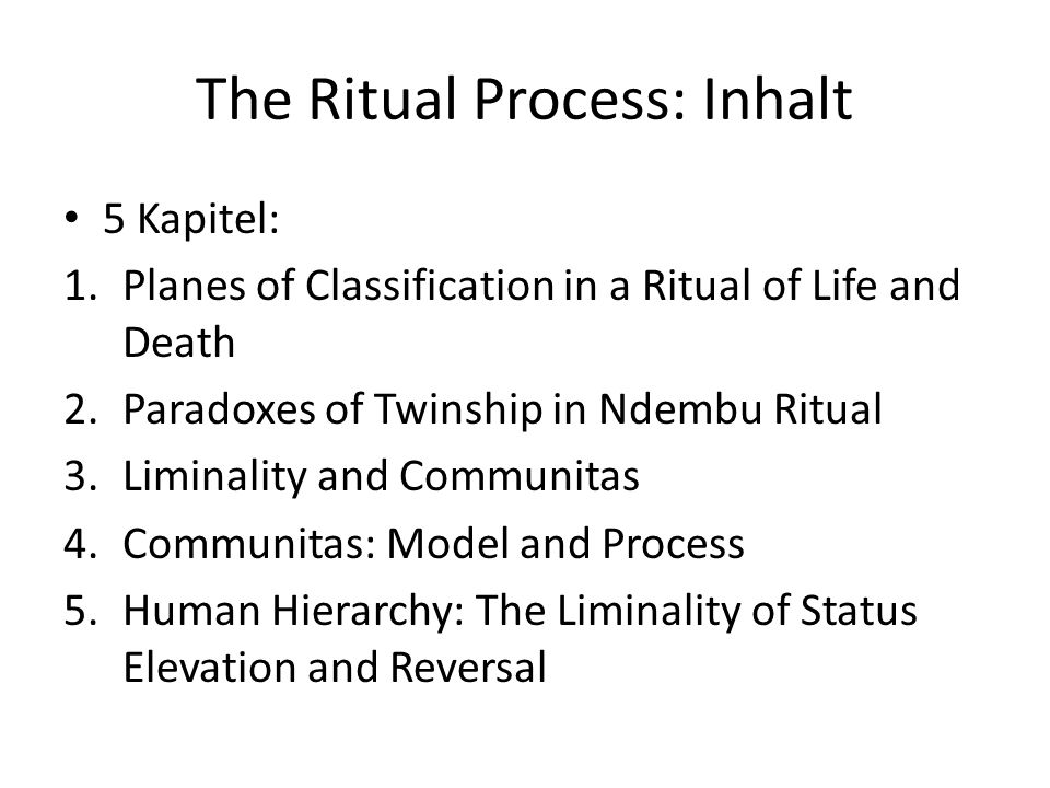 The Ritual Process: Planes of Classification in a Ritual of Life and Death L.