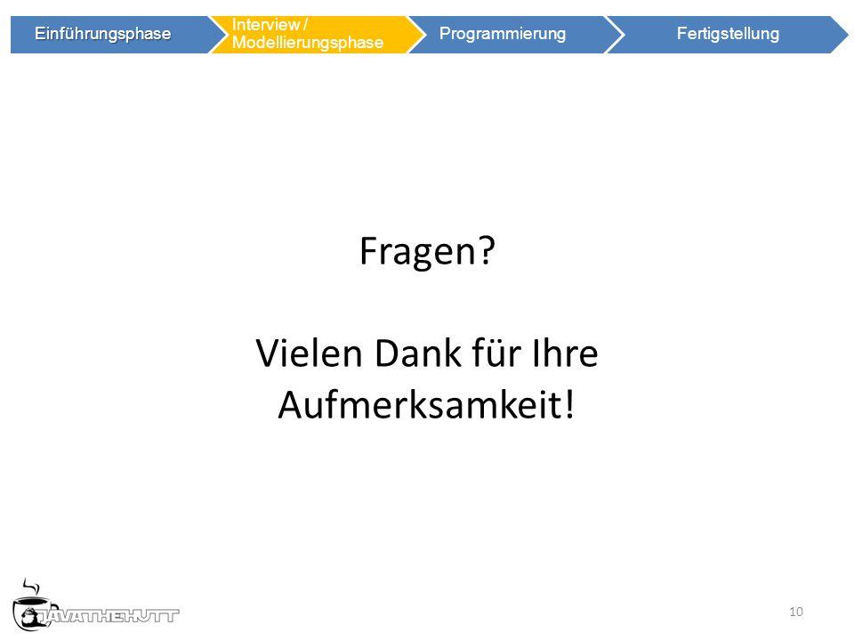 10 Einführungsphase Einführungsphase Interview / Modellierungsphase ProgrammierungFertigstellung Fragen.