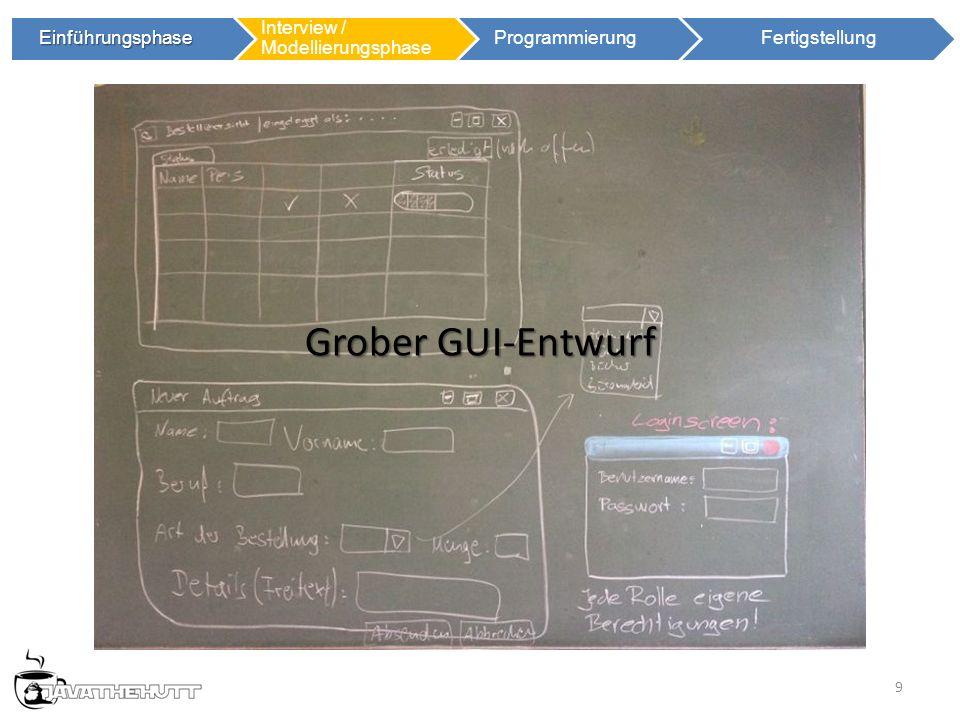 9 Einführungsphase Einführungsphase Interview / Modellierungsphase ProgrammierungFertigstellung Grober GUI-Entwurf