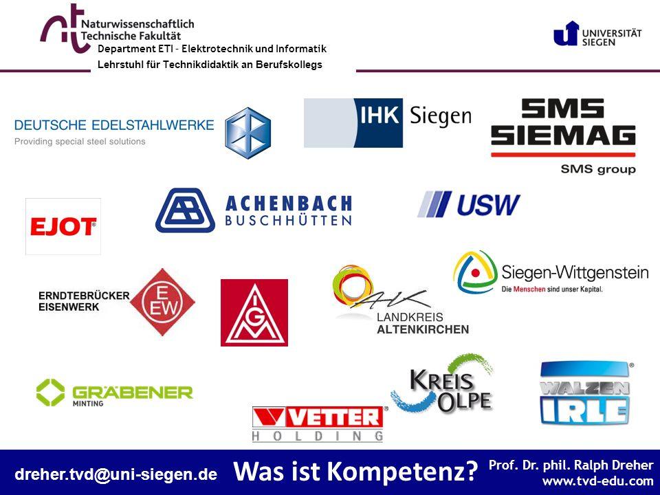 Prof. Dr. phil. Ralph Dreher www.tvd-edu.com Prof. Dr. phil. Ralph Dreher www.tvd-edu.com Department ETI – Elektrotechnik und Informatik Lehrstuhl Tec