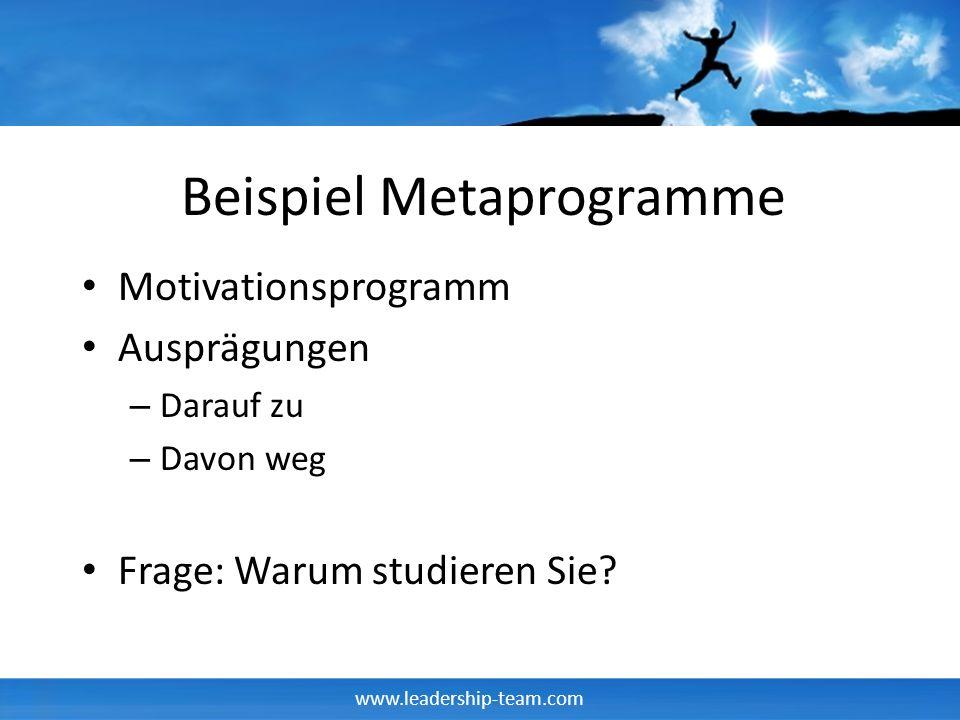 www.leadership-team.com Beispiel Metaprogramme Motivationsprogramm Ausprägungen – Darauf zu – Davon weg Frage: Warum studieren Sie?