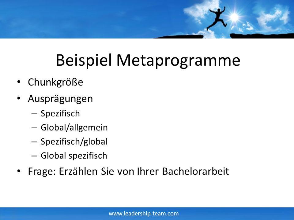 www.leadership-team.com Beispiel Metaprogramme Chunkgröße Ausprägungen – Spezifisch – Global/allgemein – Spezifisch/global – Global spezifisch Frage: