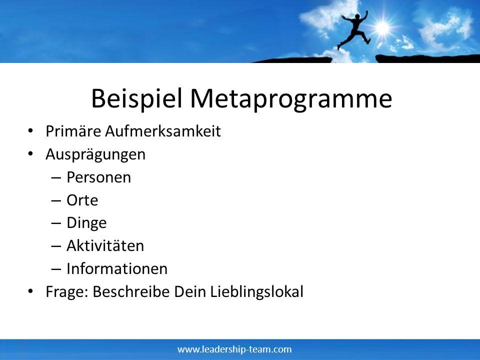 www.leadership-team.com Beispiel Metaprogramme Primäre Aufmerksamkeit Ausprägungen – Personen – Orte – Dinge – Aktivitäten – Informationen Frage: Besc