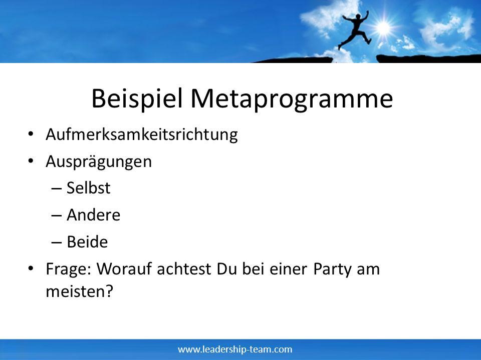 www.leadership-team.com Beispiel Metaprogramme Aufmerksamkeitsrichtung Ausprägungen – Selbst – Andere – Beide Frage: Worauf achtest Du bei einer Party