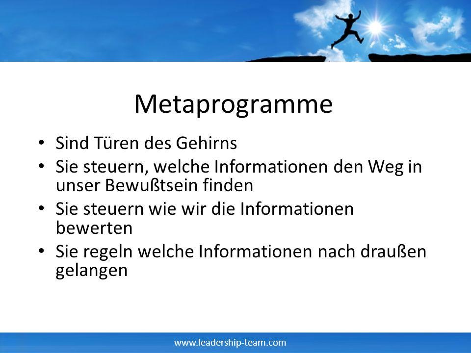 www.leadership-team.com Metaprogramme Sind Türen des Gehirns Sie steuern, welche Informationen den Weg in unser Bewußtsein finden Sie steuern wie wir