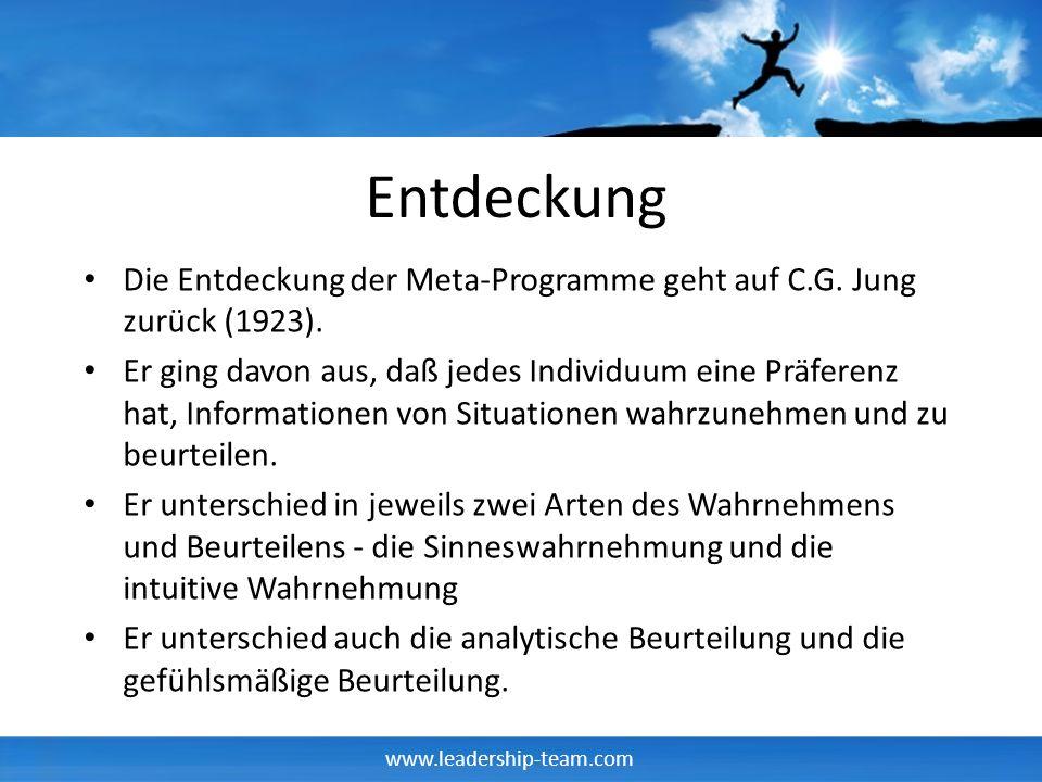 www.leadership-team.com Entdeckung Die Entdeckung der Meta-Programme geht auf C.G. Jung zurück (1923). Er ging davon aus, daß jedes Individuum eine Pr