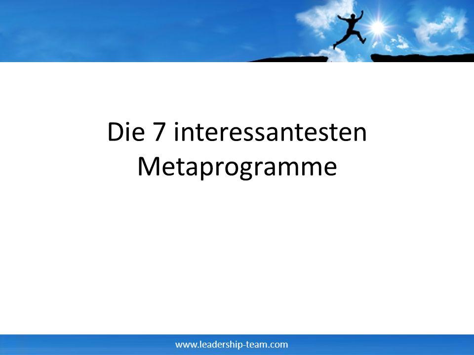 www.leadership-team.com Beispiel Metaprogramme Bezugsrahmenfilter Ausprägungen – Intern – Extern – Beides Frage: Warum weißt Du, daß Du etwas gut gemacht hast?