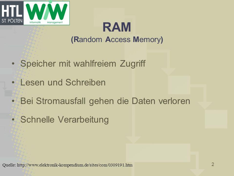 RAM (Random Access Memory) Speicher mit wahlfreiem Zugriff Lesen und Schreiben Bei Stromausfall gehen die Daten verloren Schnelle Verarbeitung 2 Quell