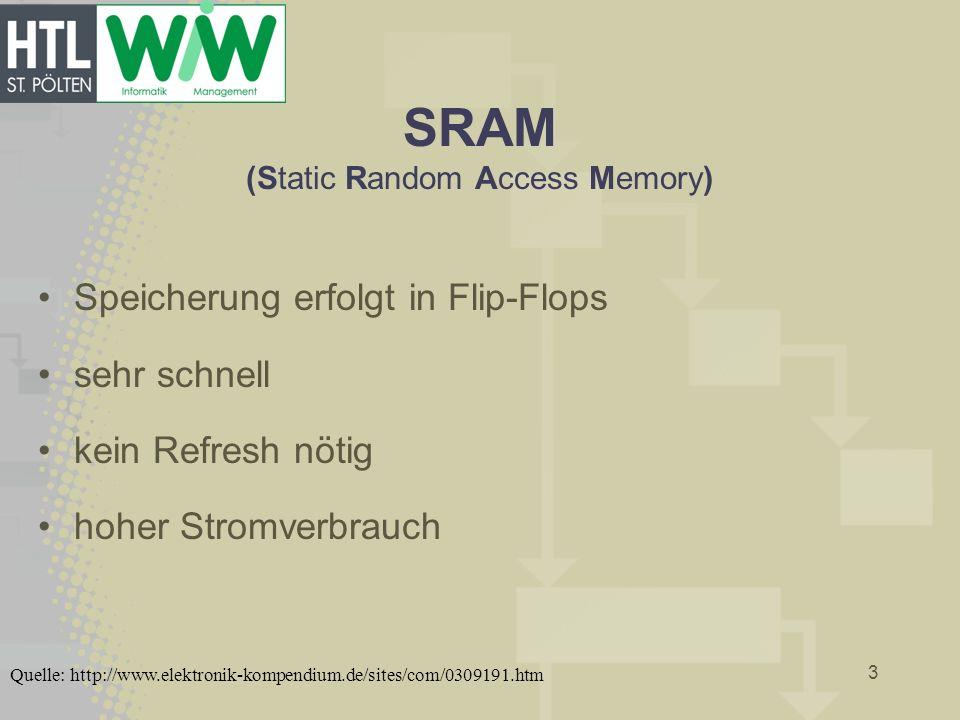 SRAM (Static Random Access Memory) Speicherung erfolgt in Flip-Flops sehr schnell kein Refresh nötig hoher Stromverbrauch 3 Quelle: http://www.elektro