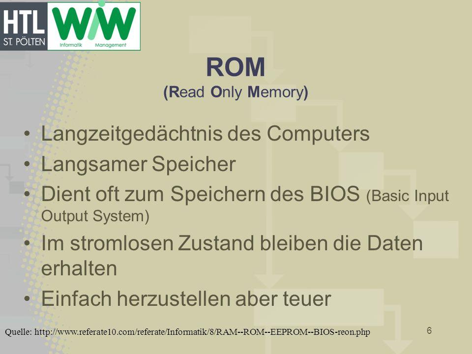 ROM (Read Only Memory) Langzeitgedächtnis des Computers Langsamer Speicher Dient oft zum Speichern des BIOS (Basic Input Output System) Im stromlosen