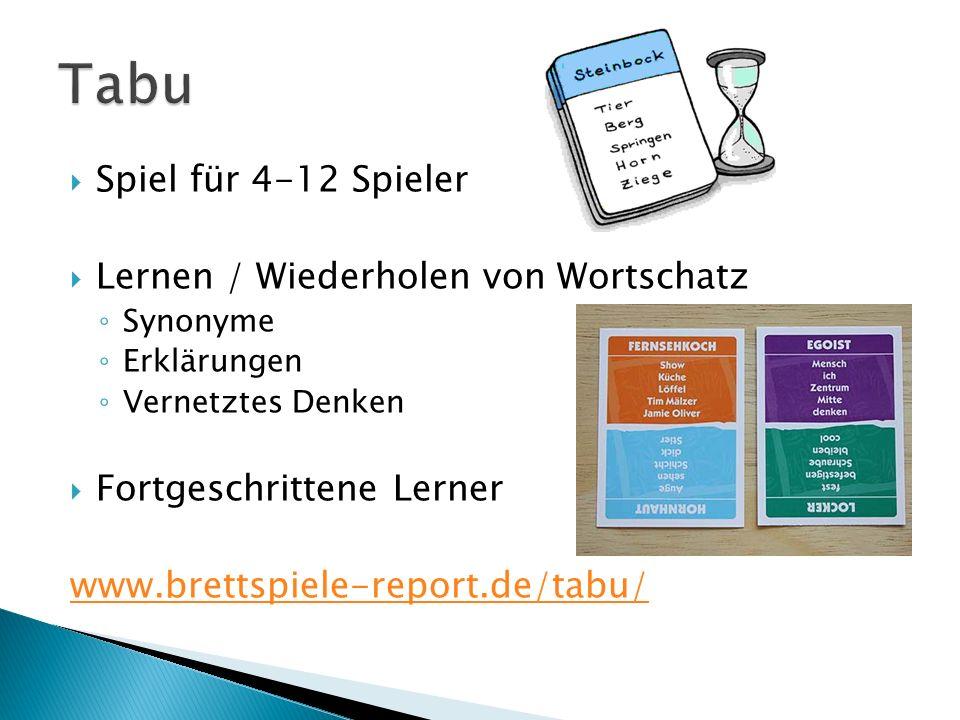 Spiel für 4-12 Spieler Lernen / Wiederholen von Wortschatz Synonyme Erklärungen Vernetztes Denken Fortgeschrittene Lerner www.brettspiele-report.de/ta