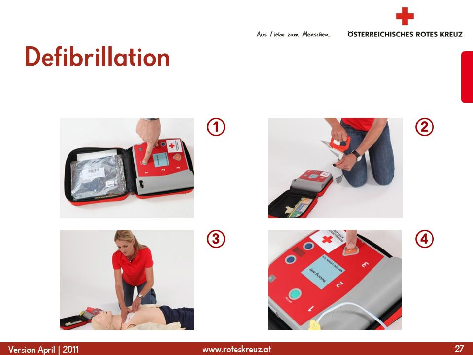 www.roteskreuz.at Version April | 2011 Defibrillation 27