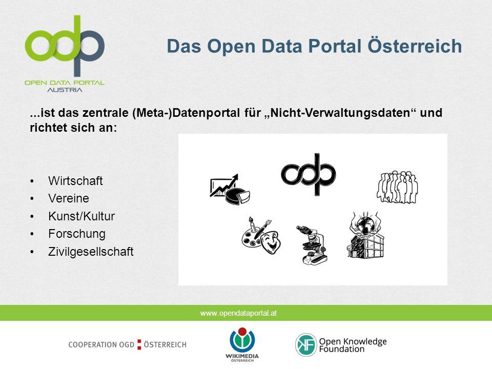 Das Open Data Portal Österreich...ist das zentrale (Meta-)Datenportal für Nicht-Verwaltungsdaten und richtet sich an: Wirtschaft Vereine Kunst/Kultur