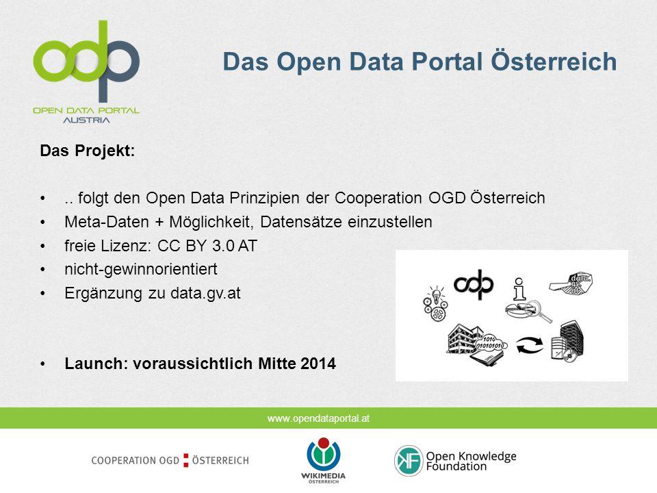 www.opendataportal.at Das Open Data Portal Österreich Das Projekt:.. folgt den Open Data Prinzipien der Cooperation OGD Österreich Meta-Daten + Möglic