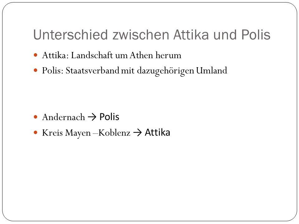 Unterschied zwischen Attika und Polis Attika: Landschaft um Athen herum Polis: Staatsverband mit dazugehörigen Umland Andernach Polis Kreis Mayen –Koblenz Attika