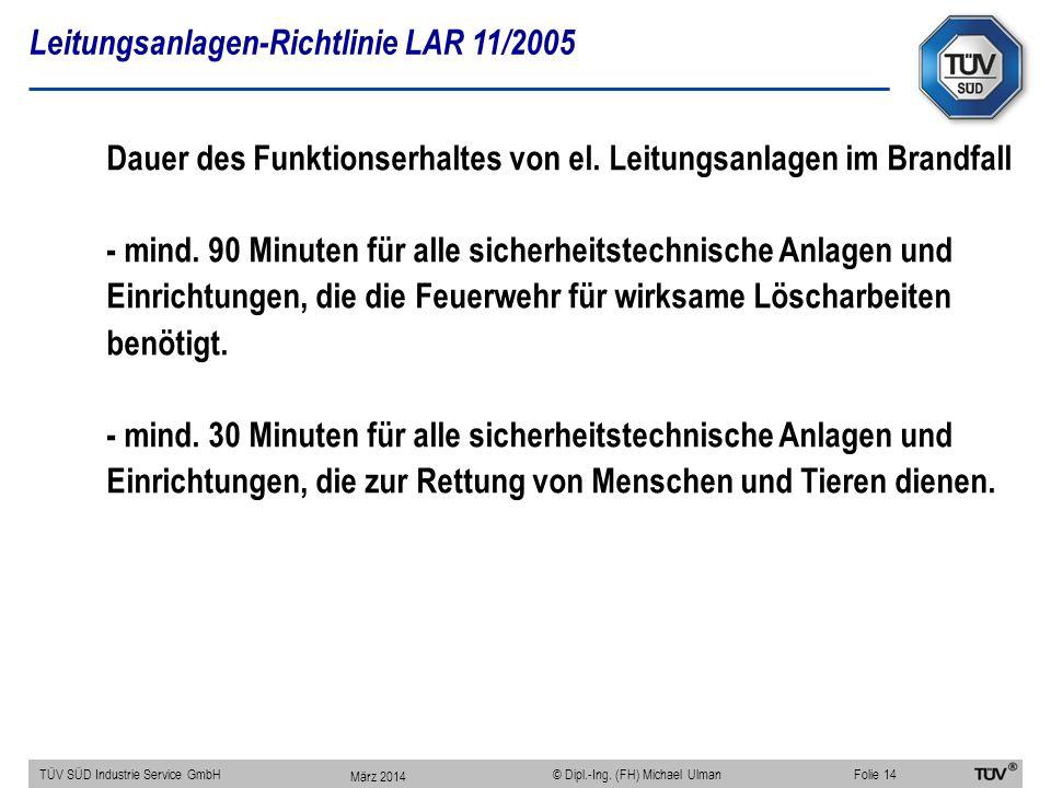 Leitungsanlagen-Richtlinie LAR 11/2005 TÜV SÜD Industrie Service GmbHFolie 14 © Dipl.-Ing. (FH) Michael Ulman Dauer des Funktionserhaltes von el. Leit