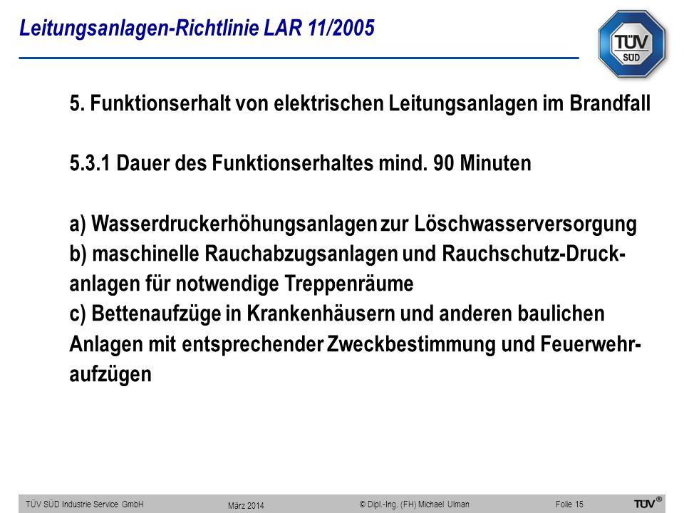 Leitungsanlagen-Richtlinie LAR 11/2005 TÜV SÜD Industrie Service GmbHFolie 15 © Dipl.-Ing. (FH) Michael Ulman 5. Funktionserhalt von elektrischen Leit