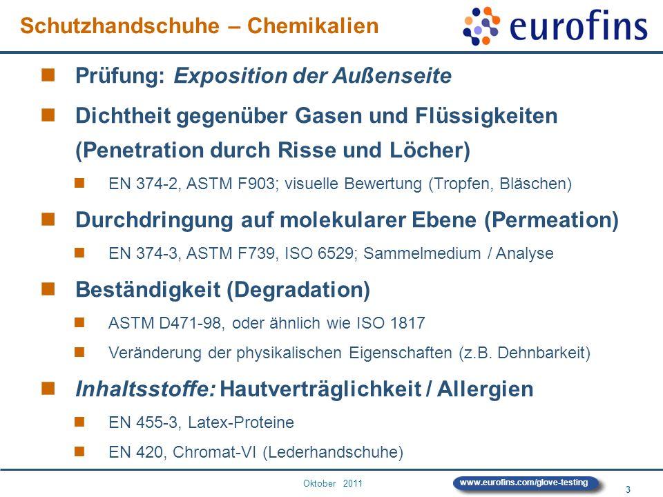 Oktober 2011 3 www.eurofins.com/glove-testing Prüfung: Exposition der Außenseite Dichtheit gegenüber Gasen und Flüssigkeiten (Penetration durch Risse
