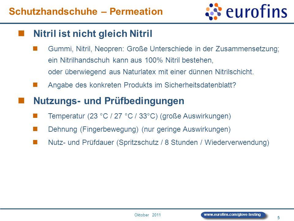 Oktober 2011 5 www.eurofins.com/glove-testing Nitril ist nicht gleich Nitril Gummi, Nitril, Neopren: Große Unterschiede in der Zusammensetzung; ein Ni