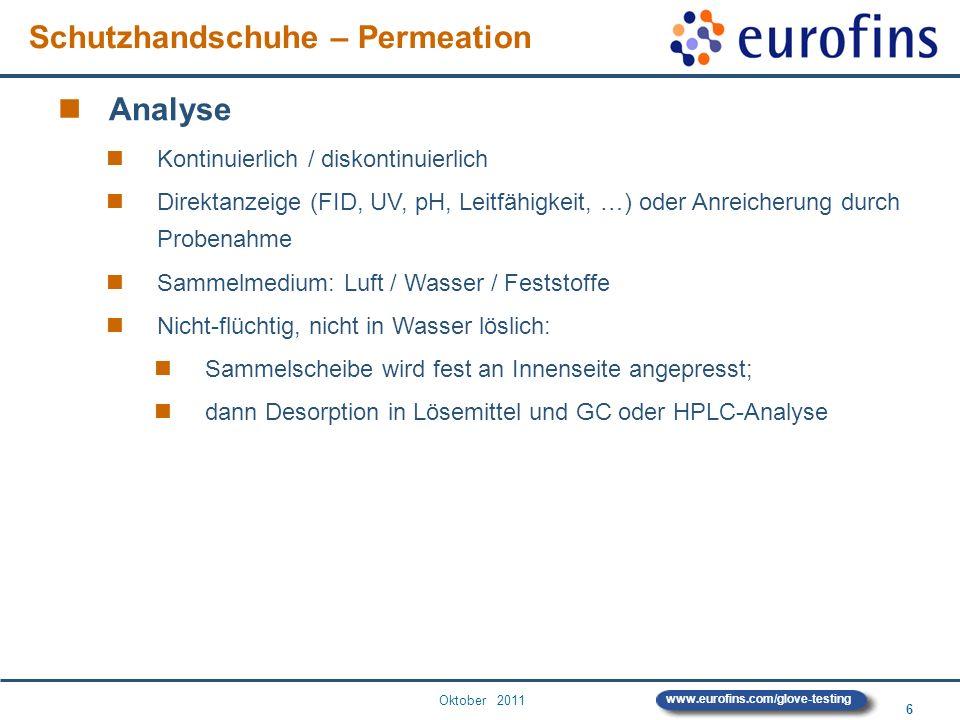 Oktober 2011 6 www.eurofins.com/glove-testing Analyse Kontinuierlich / diskontinuierlich Direktanzeige (FID, UV, pH, Leitfähigkeit, …) oder Anreicheru