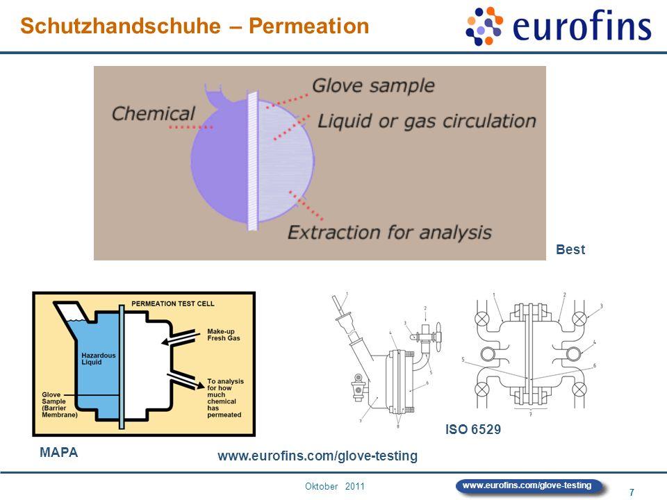 Oktober 2011 7 www.eurofins.com/glove-testing Schutzhandschuhe – Permeation www.eurofins.com/glove-testing Best MAPA ISO 6529