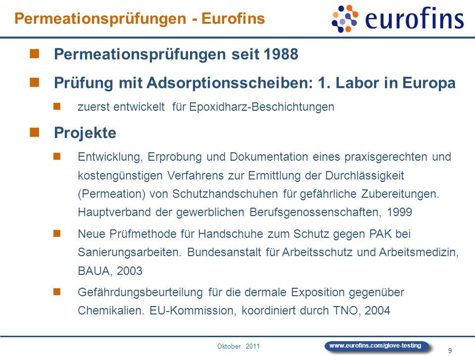 Oktober 2011 9 www.eurofins.com/glove-testing Permeationsprüfungen seit 1988 Prüfung mit Adsorptionsscheiben: 1. Labor in Europa zuerst entwickelt für