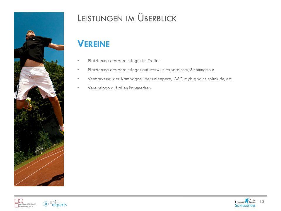 L EISTUNGEN IM Ü BERBLICK V EREINE Platzierung des Vereinslogos im Trailer Platzierung des Vereinslogos auf www.uniexperts.com/Sichtungstour Vermarktung der Kampagne über uniexperts, GSC, mybigpoint, splink.de, etc.