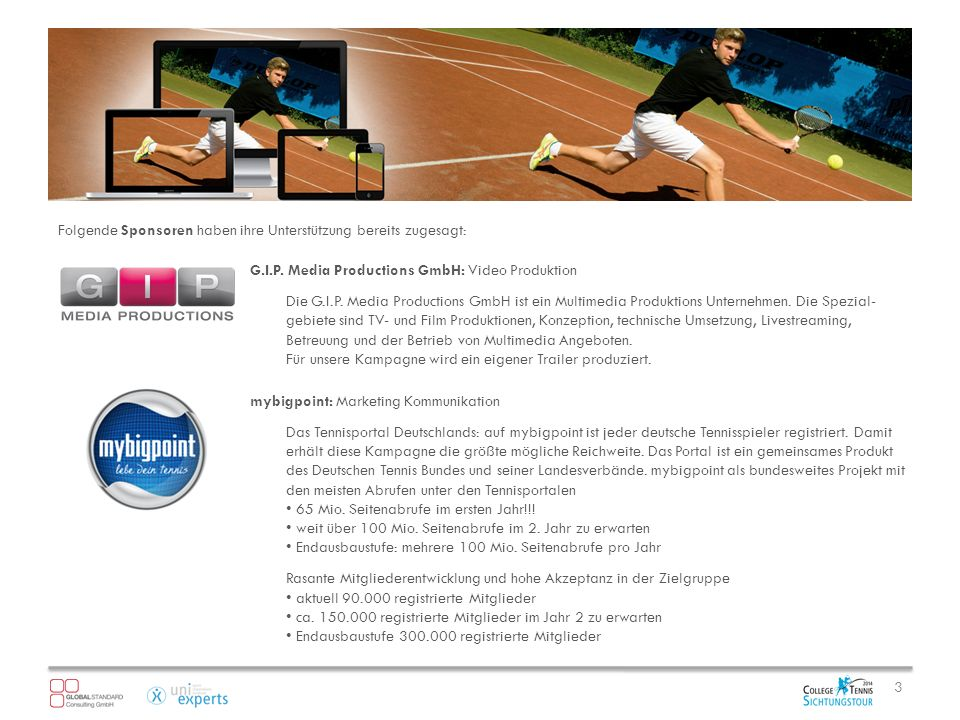 A NGEBOT IM Ü BERBLICK HAUPTSPONSOR7.500,00 CO-SPONSOR 3.500,00 AUSRÜSTERbeginnt bei 1.500,00 / Equipment/Sachleistung Insbesondere bei großen Sponsoren hat sich das Sportsponsoring zum Leitinstrument der Kommunikation entwickelt.